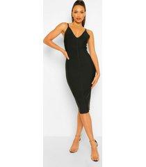 tall bandage midi bodycon jurk met v-hals, black