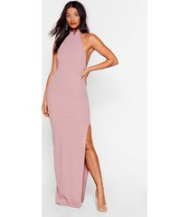 womens slit while you're ahead halter maxi dress - dusty rose