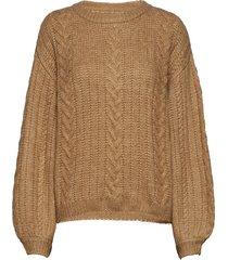 camelagz pullover ma19 stickad tröja brun gestuz