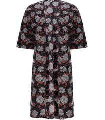kimono estampado flores color negro, talla 10