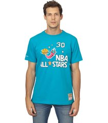camiseta mitchell & ness estampada all stars pippen azul - verde - masculino - dafiti