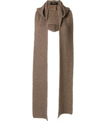 goen.j hooded ribbed-knit scarf - brown