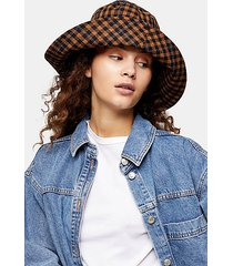 brown mini check wide bucket hat - brown