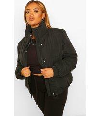 plus gewatteerde jas met hoge hals, black
