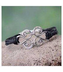 silver and cotton wristband bracelet, 'love symphony' (peru)