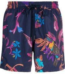 etro bañador floral print swim shorts - blue