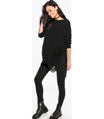 maternity distressed side split sweater, black