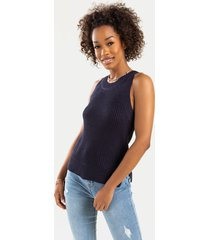 women's morgan high neck sweater tank top in navy by francesca's - size: 3x