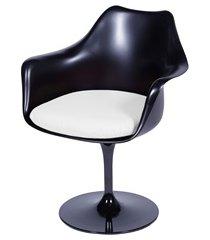 cadeira almofadada com braços saarinen preta e branca