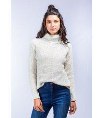 suéter tejido para mujer con cuello vuelto beige