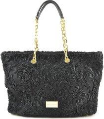 ermanno scervino black eco leather and neoprene shoulder bag