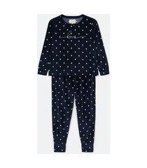pijama blusa manga longa e calça em plush poá e estampa escrito love | lov | azul | p
