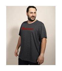 camiseta masculina plus size budweiser manga curta gola careca cinza mescla escuro
