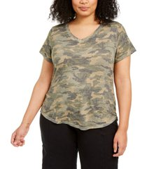 style & co plus size printed v-neck top, created for macy's