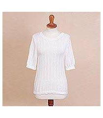 pima cotton sweater, 'lacy lines' (peru)