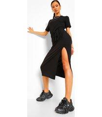 lang zachte geribde midi-jurk met riem, zwart