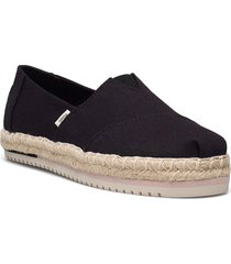 black canvas sandaletter expadrilles låga svart toms
