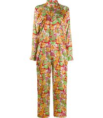 plan c floral long-sleeve jumpsuit - orange