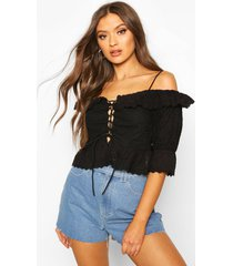 broderie anglais cold shoulder ruffle blouse, black