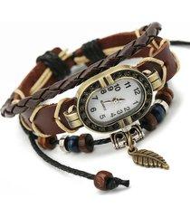 punk multilayer bracciali orologi vintage foglia perline ciondolo fascino mens orologi regalo per le donne