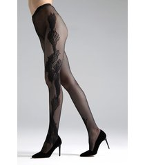 natori peacock feather net tights, women's, black, size m natori