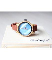 damski drewniany zegarek rainbow blue
