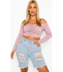 plus crop top met ruches, open schouders en lange mouwen, lila
