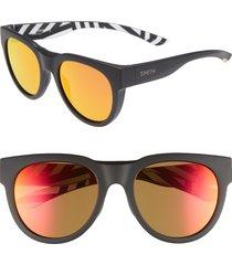 men's smith crusader 53mm chromapop(tm) round sunglasses - squall/ sun red mirror