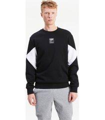 rebel small logo sweater met ronde hals voor heren, zwart/aucun, maat xxs | puma