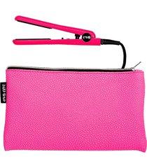 eva nyc women's 2-piece mini hair iron & pouch set - hot pink
