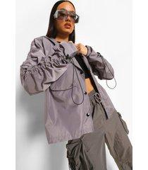 oversized regenjas met geplooide mouwen, silver grey