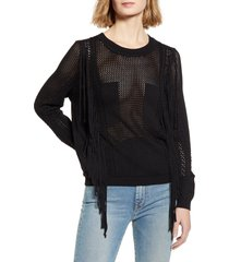 women's 7 for all mankind open weave fringe sweater