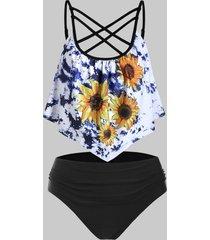 tie dye sunflower criss cross flounce tummy control tankini swimwear