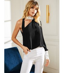 yoins blusa asimétrica sin mangas con correa ajustable cuello negra