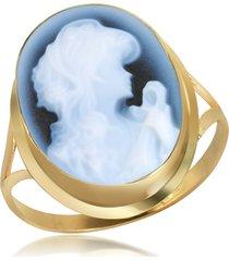 del gatto designer rings, woman agate cameo 18k gold ring