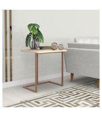 mesa lateral 55 cm bronze madeirado claro mdf lilies móveis