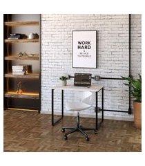 mesa de escritório kuadra bege 90 cm
