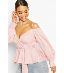 cold shoulder wraptie waist top, blush