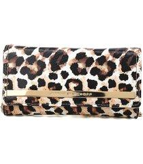 clutch couro jorge bischoff leopardo branco/marrom - kanui