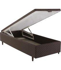 base cama box baú solteiro herval suede, 46x88x188 cm, marrom
