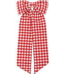 shrimps fortuna gingham hair bow - red