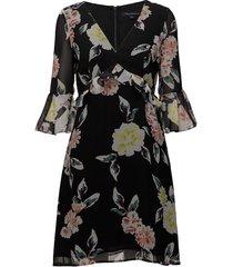 enoshima drape ls vnck dress kort klänning svart french connection