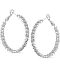 """guess medium pave chain-link hoop earrings, 1.5"""""""