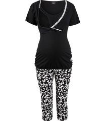 pigiama per l''allattamento con pinocchietto (nero) - bpc bonprix collection - nice size