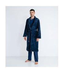 roupão em fleece liso com amarração   viko   azul   gg