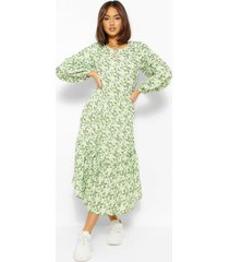 oversized balloon sleeve midaxi dress, olive