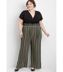 maurices plus size womens stripe paperbag jumpsuit green