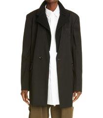 women's y's by yohji yamamoto ribbed lapel wool blazer, size 2 - black