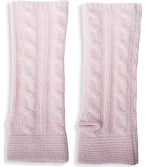 portolano women's cable-knit cashmere arm warmers - powder pink