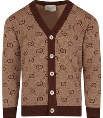 gucci beige cardigan for boy with double gg